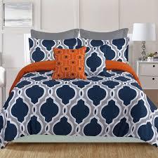crest home ellen westbury 7 piece queen comforter bedding set navy blue and grey quatrefoil