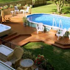 Above ground pool with deck attached to house Sloped Yard Above Ground Pool With Deck Attached To House Beautiful Pool Pool With Snazzy Above Ground Theelasticenterprisecom Pools Snazzy Above Ground Pool Deck Plans Applied To Your House