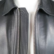 men s burberry london 40 black leather pointed collar patch pocket er jacket in excellent condition for