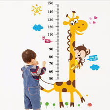 Cartoon Animal Giraffe Height Measure Wall Sticker For Kids Rooms Poster Home Decor Growth Chart Mural Child Height Wall Decals Nz 2019 From