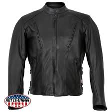 hot leathers men s usa made vented premium leather motorcycle jacket w side lace