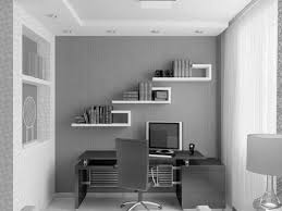 Fascinating White And Grey Themes Small Home Office Ideas Added White Wall  Bookshelves Over Custom Computer Office Desk Also Built Cabinets Designs