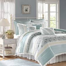 Marvelous Madison Park Dawn Queen Size Bed Comforter Set Bed In A Bag   Aqua, Floral
