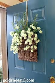 over the door hanging baskets front door wreath alternative flat basket with seasonal faux flowers or