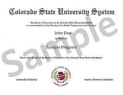 colorado state university system csu global campus sample diploma