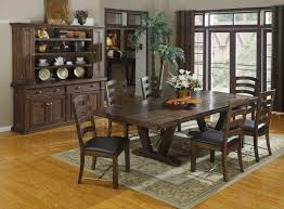 rustic living room furniture sets. Dark Brown Polished Wooden Dining Table And Chair Having Square Furniture Black Seat On Grey. Room Rustic Living Sets