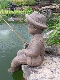 fishing boy cast stone statue sculpture pond garden decor accent large statuary