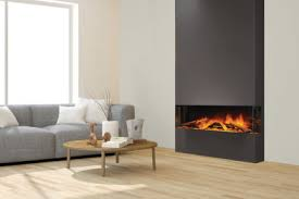 e40 3 sided electric fireplace by electric modern