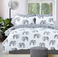 details about white and grey elephant paisley duvet quilt cover bed set single double king
