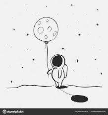 かわいい宇宙飛行士は 月を保持します 手描き落書きアート ベクトル図