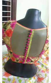 Double Colour Blouse Back Neck Designs Synthetic Blouse Stylish Blouse Design Fancy Blouse