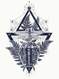 Fototapeta Prehistoric Tetování Dragonfly V Trojúhelník Tričko Design