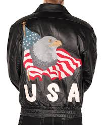 leather world men s usa leather jacket with eagle american flag