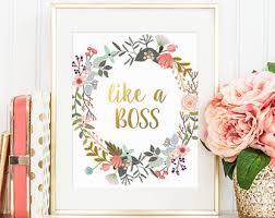 cute office decor. Gold Floral Decor, Like A Boss, Letter Print, Cute Office Decor O