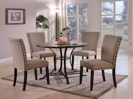 wyatt contemporary round dining table set with 4 upholstered side chairs