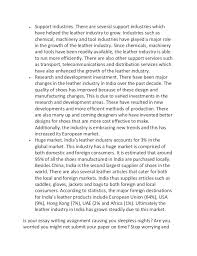 sample essay on factors affecting the leather industry in  2  support industries