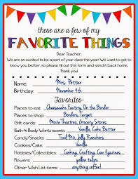 Teacher Favorite Things Questionnaire | Kicking Ass & Crafting ...