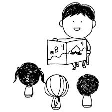 絵本を読み聞かせしてもらう子供達のフリーイラスト フリーイラスト