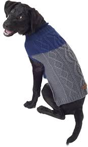 Eddie Bauer Two Tone Cable Dog Sweater X Small Indigo Cider