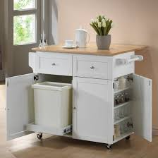Spice Racks For Kitchen Coaster Furniture 900558 Kitchen Cart With Leaf Trash Compartment