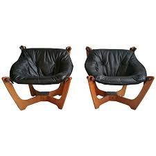 Organic Modern Furniture Pair Of Vintage Danish Mid Century Modern Mabler Luna Leather