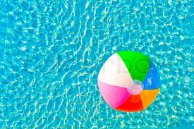 Fine Beach Ball In Pool Colorful Floating A Stock And Design Decorating