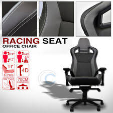 dodge viper office chair. MU RACING STYLE PVC LEATHER BUCKET RECLINABLE SEAT CHAIR BLACK/GREY STITCHES C37 (Fits: Dodge Viper) Viper Office Chair