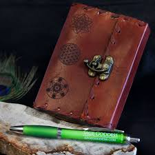 sacred geometry leather journals with sg pen for record keeping 36 00