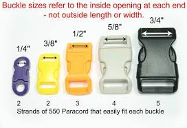 Paracord Parachute Cord Sizes Buckle Sizes