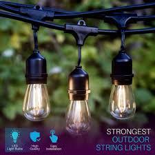 Edison Bulb Patio String Lights Ip65 17m 24 Bulbs S14 String Lights Waterproof E27 Led Retro Edison Filament Bulb Outdoor Garden Holiday Wedding Lights String