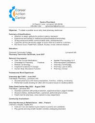 Cable Installer Sample Resume Unique Pharmacy Technician Resume