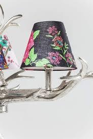 Kare Hängeleuchte Antler Flowers Silber Rustikale Lampe Mit Hirschgeweih Ausgefallene Lampenschirme Mit Blumenmuster Design Kronleuchter Hbt