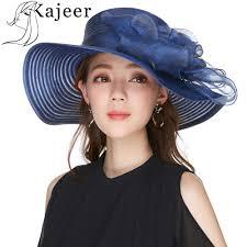 Ladies Designer Sun Visors Us 11 7 35 Off Kajeer Summer Hat For Women Yarn Navy Wide Brim Church Hat Chapeau New Europe Style Designer Cap Sun Visor Lady Party Rays Uv In