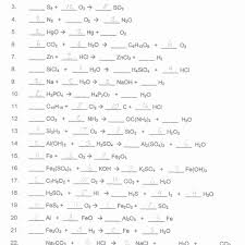 worksheet balancing word equations balance the chemical