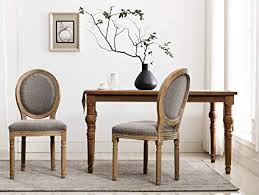 rustic farmhouse dining room chairs french distressed elegant tufted kitchen chairs with carving wood legs