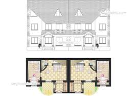 semi detached house 1 dwg cad file free