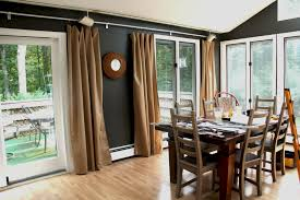 awesome brown fabric sliding dining room curtains for glass doors treatment also wooden dining table set on wooden floors as grey dining room decorating