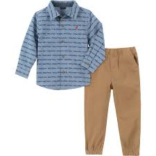 Nautica Toddler Boys Button Down Woven Shirt And Twill Pants