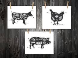 Kitchen Artwork Butcher Chart Etsy