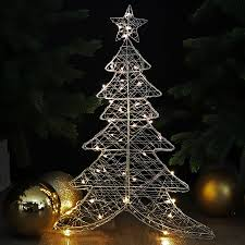 Draht Weihnachtsbaum 60cm Mit Led Warmweiß Beleuchtet Deko Weihnachten
