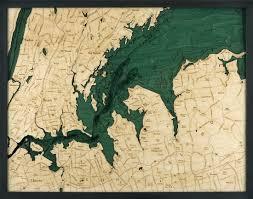 Thames River Ct Depth Chart West Long Island Sound 3 D Nautical Wood Chart 24 5 X 31