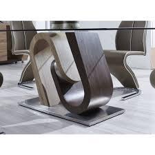 global furniture glass dining table with oak and walnut base 71x40x30 inch oak walnut thumbnail thumbnail thumbnail thumbnail thumbnail thumbnail