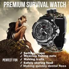 EDC <b>Outdoor Survival Watch</b> Waterproof Emergency Gear Camping ...