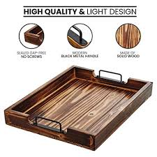 rustic wood tray with black handles