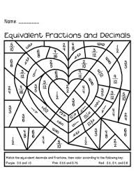 443fbe60bb0655ae3e74cdae0570686e valentine's day equivalent fractions and decimals activity math on converting fractions to decimals worksheet pdf