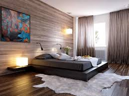 bright brown modern minimalist bedroom ideas with cowhide rug and unique table lamps