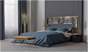 Dark Slatted Walls Modern Bedroom