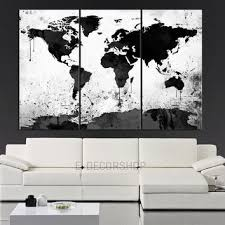>wall art best pictures black and white wall art canvas black and  large black and white wall art canvas world map canvas print 3 piece watercolor splash map