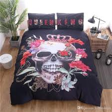 skull king bedding set sugar flower black duvet cover sets twin full queen size quilt bed high count density cotton duvet covers bedding single twin