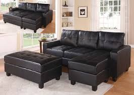 faux leather sectional. Black Faux Leather Sectional Sofa With Reversible Chaise And Ottoman X